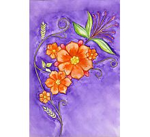 Hand drawn pencil & watercolour flowers in orange and purple Photographic Print