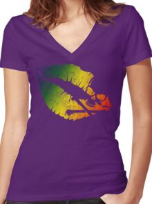 rainbow poison lips Women's Fitted V-Neck T-Shirt