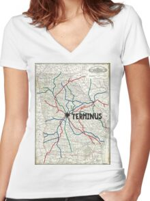 The Walking Dead - Terminus Map Women's Fitted V-Neck T-Shirt
