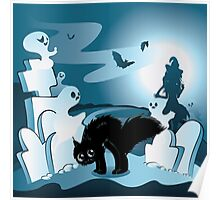 Cartoon Cemetery with Ghosts 3 Poster