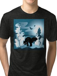 Cartoon Cemetery with Ghosts 3 Tri-blend T-Shirt