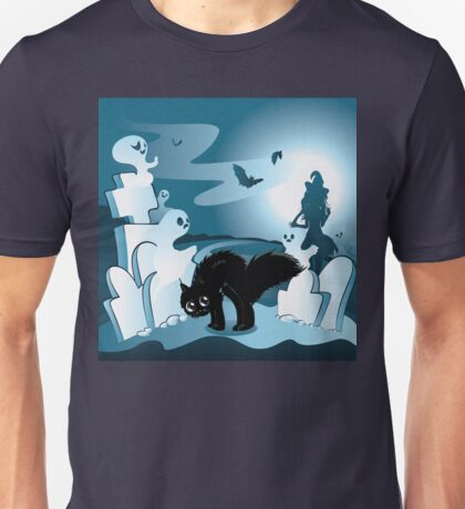 Cartoon Cemetery with Ghosts 3 Unisex T-Shirt