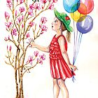 Magnolia tree - cute girl with balloons admires a bird. by didielicious