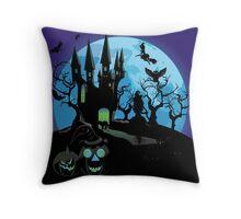 Haunted Halloween Castle 3 Throw Pillow