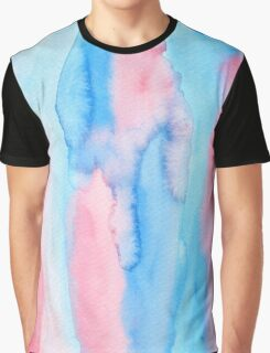 Hand-Painted Abstract Watercolor Red Blue Painting Graphic T-Shirt