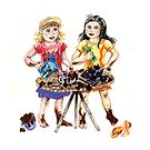 Making mud pies - two cute girls cooking. by didielicious