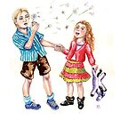 Dandelion wishes, cute brother & sister make wishes by didielicious