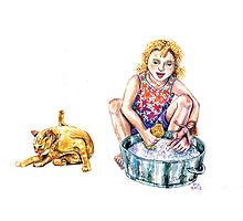 Washing dolly - cute girl & her cat do the washing. by didielicious