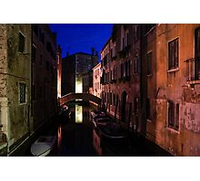 Venice, Italy - Nightscape on a Small Canal Photographic Print