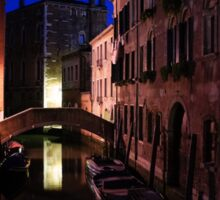 Venice, Italy - Nightscape on a Small Canal Sticker