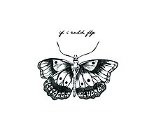 """If I Could Fly"" Butterfly Drawing  Photographic Print"