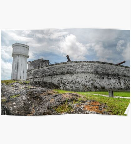Historical Places of Nassau, The Bahamas: Fort Fincastle & The Water Tower Poster