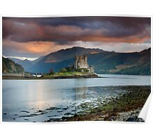Red Sky at Eilean Donan Castle Poster