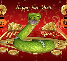 Chinese Year Of The Snake New Year Greeting Card by Moonlake