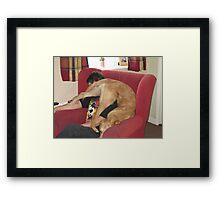 pup yoga II Framed Print