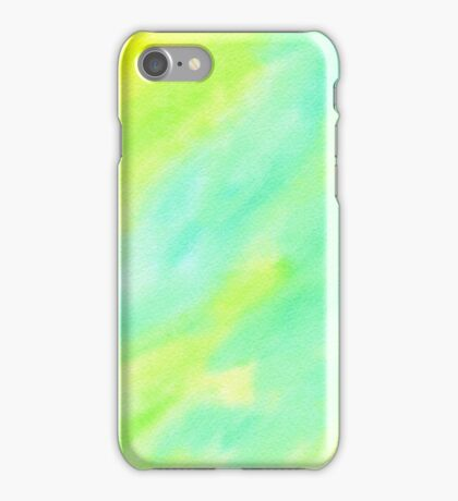 Hand-Painted Abstract Watercolor Green Yellow Painting iPhone Case/Skin