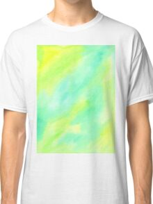Hand-Painted Abstract Watercolor Green Yellow Painting Classic T-Shirt