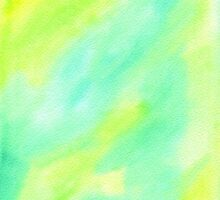 Hand-Painted Abstract Watercolor Green Yellow Painting by Beverly Claire Kaiya