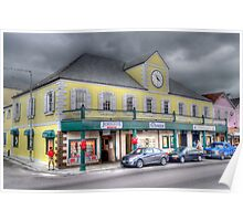 Stormy day on Bay street in Downtown Nassau, The Bahamas Poster