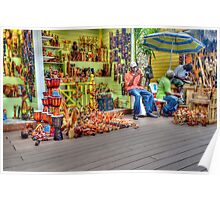 Craft Vendors at the Straw Market in Nassau, The Bahamas Poster