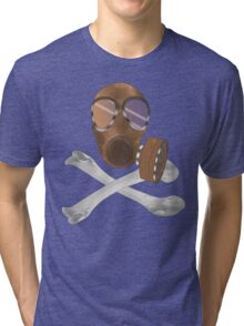 gas mask cross bones Tri-blend T-Shirt