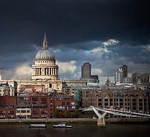 St Pauls and Millenium Bridge by JzaPhotography