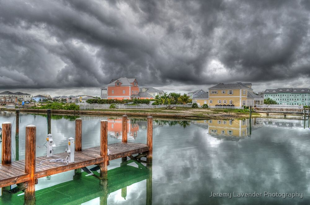 Stormy day at Sandyport Marina Village in Nassau, The Bahamas by Jeremy Lavender Photography