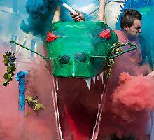 The smoke operator suffers, La festa dell'uva, Panicale, Umbria by Andrew Jones
