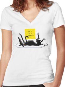 Snoozin' Women's Fitted V-Neck T-Shirt