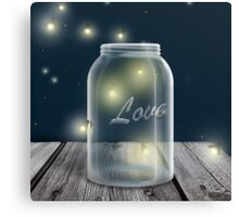 Midnight Firefly Mason Jar Canvas Print