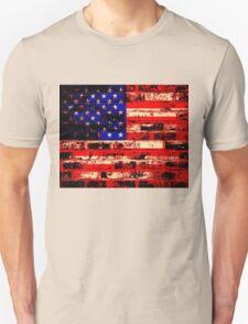 American Flag On Old Brick Wall T-Shirt