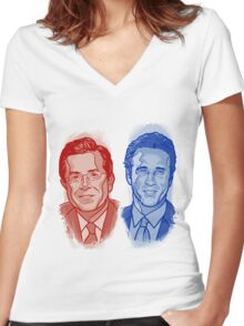 Jon Stewart and Stephen Colbert Women's Fitted V-Neck T-Shirt