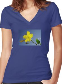 Yellow Jasmine Flower and Bud Against Blue Sky Women's Fitted V-Neck T-Shirt
