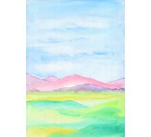 Hand-Painted Watercolor Pink Mountains Blue Sky Yellow Green Field Landscape Photographic Print