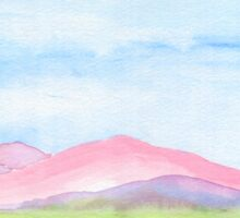Hand-Painted Watercolor Pink Mountains Blue Sky Yellow Green Field Landscape Sticker