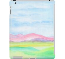 Hand-Painted Watercolor Pink Mountains Blue Sky Yellow Green Field Landscape iPad Case/Skin