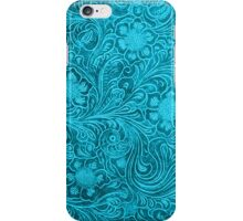 Turquoise-Blue Leather Look Embossed Floral Design iPhone Case/Skin