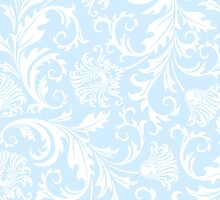 White And Pastel Blue Floral Damasks by artonwear