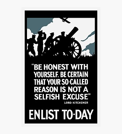 Enlist To-Day -- Lord Kitchener WWI Photographic Print