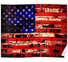 American Flag On Old Brick Wall Poster