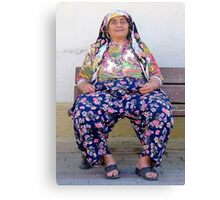Turkish Village Woman In Traditional Clothing Canvas Print