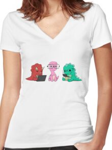 Nerdy Dinos Women's Fitted V-Neck T-Shirt