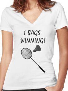 I Bags Winning! - Badminton Women's Fitted V-Neck T-Shirt