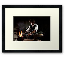Old style manual labour Blacksmith Middle Ages Period Framed Print