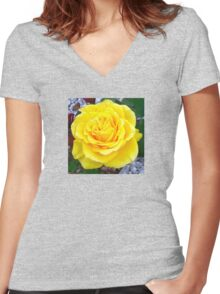 Golden Yellow Rose with Garden Background Women's Fitted V-Neck T-Shirt