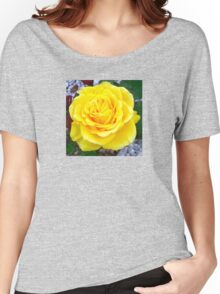 Golden Yellow Rose with Garden Background Women's Relaxed Fit T-Shirt