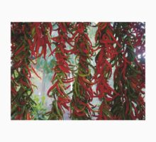 Strung and Hanging Red and Green Chili Peppers Drying Kids Tee