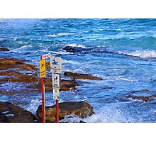 Danger signs at the beach, Sydney Photographic Print