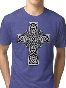 Irish Cross With Grenades (BW edition) Tri-blend T-Shirt