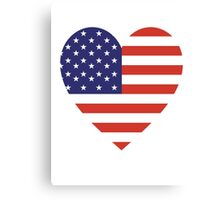 American Flag, USA, Heart, Stars & Stripes, Pure & Simple, Americana, America Canvas Print